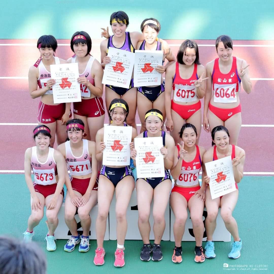 松山東高校 松山北高校 陸上 陸上女子 ブルマ ハイレグ 日焼け跡 セパレート レーシングショーツ 腹筋